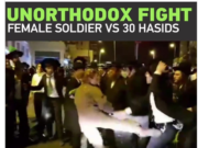 Israeli female soldier fight orthodox jews